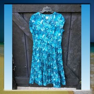 Blair Midi Length Blue Short Sleeve Dress, Size PL